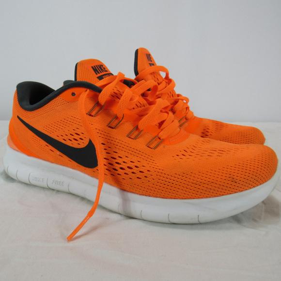 Nike Free RN Orange Athletic Running Shoes Men 7.5
